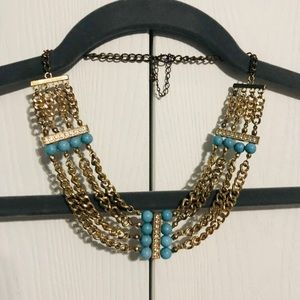 Gold Chain & Blue Bead Necklace
